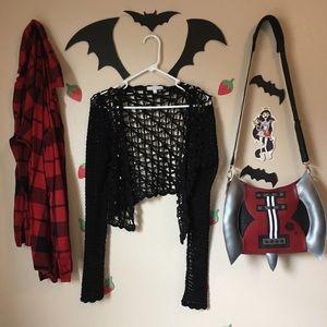 🖤Black open knit cardigan🖤